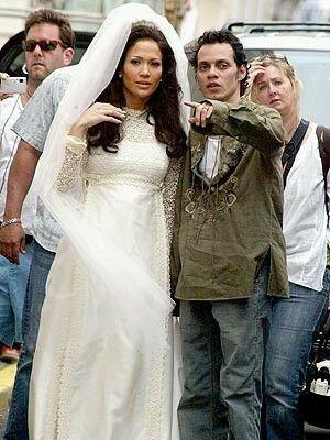 Marc Anthony Jennifer Lopez Chiffon White Dress Bridal Bolero Online Wedding Dress