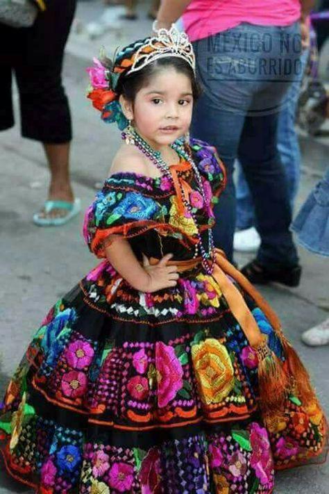 Hermosísimo vestido, digno de una princesa mexicana para fiesta de 3 años!!
