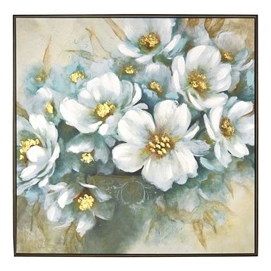 Full White Flowers Meet Gold Foil Accents In This Embellished White Floral Framed Canvas Art Print Christmas Canvas Art Flower Painting Framed Canvas Wall Art