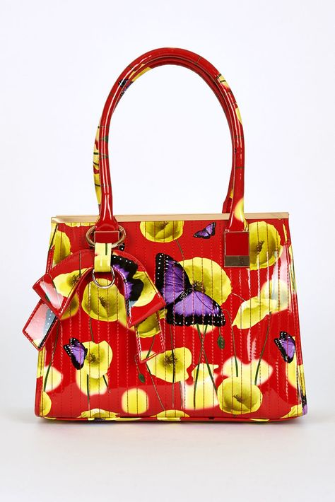 Patent Floral Red Yellow Poppy Butterfly Print Handbag Ted Baker