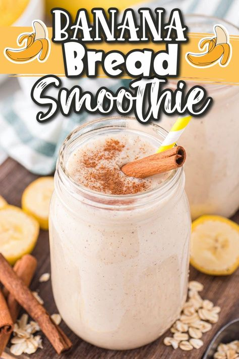 This delicious and healthy Banana Bread Smoothie will not only fill you up, but it tastes just like a delicious piece of banana bread but in smoothie form! This thick homemade banana smoothie takes only a few minutes to throw together, but will keep you satisfied for hours!