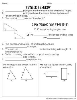 Similar Figures Notes Middle School Math High School Math 7th Grade Math