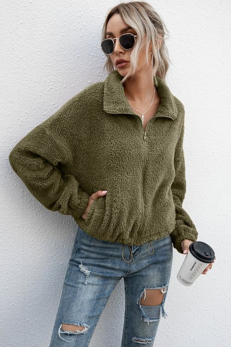 Sizing: Relaxed fit Pattern: Plain Features: Long sleeve, drop shoulder, zipper, drawstring hem, crop Neckline: Lapel Sheer: No Stretch: No stretch Product measurements: S: length 22 in, bust 47 in, sleeve length 19 in, shoulder 24 inM: length 22 in, bust 49 in, sleeve length 19 in, shoulder 25 inL: length 23 in, bust 51 in, sleeve length 20 in, shoulder 26 inXL: length 23 in, bust 54 in, sleeve length 21 in, shoulder 28 in Material composition: 100% polyester Care: Machine wash cold. Tumble dry