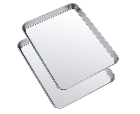 Small Baking Sheets Pans Heahysi Mini Stainless Steel Cookie Sheets And Toaster Oven Tray Pan Non Toxic And Healthy S Toaster Oven Easy Cleaning Baking Sheets