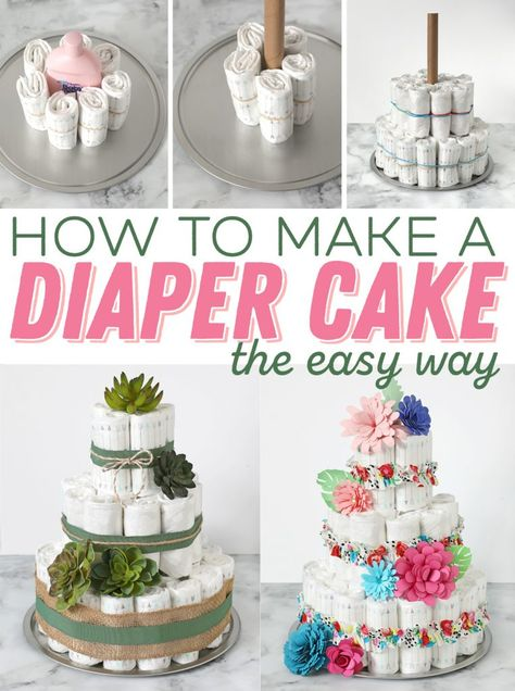 This is the best diaper cake tutorial! Everything you've ever wanted to know to make a darling diaper cake. Step by step instructions and tons of cute decorating ideas. Diaper Cakes Tutorial, Diaper Cake Instructions, Diy Diaper Cake, Nappy Cakes, Diy Cake, Cake Tutorial, Unique Diaper Cakes, Cake Craft, Deco Baby Shower