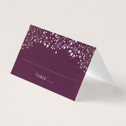 Baby S Breath Plum And Gold Wedding Place Card Gifts Customize Marriage Diy Unique Golden Pinterest Places