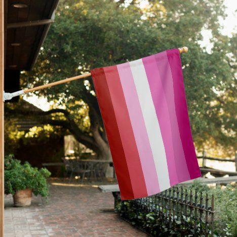 Lesbian Pink Stripe Pride House Flag Zazzle Com Lesbian Pride Flag Lesbian Flag Lesbian Pride