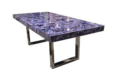 79 Long Purple Amethyst Dining Table Black Nickel Base Stone