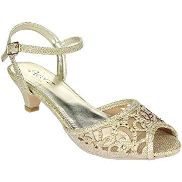0b1f609a1 Aarz Women Ladies Evening Party Wedding Low Kitten Heel Peep Toe Diamante  Sandal Shoes Size (Gold