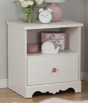 Kids Nightstand One Drawer With Open Shelf Wood White Kids Nightstand Furniture Open Shelving