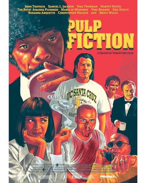 Pulp Fiction Mug Quentin Tarantino Taza movie lovers Uma Thurman John Travolta Ilustration Graphic design cult Cinema Indie