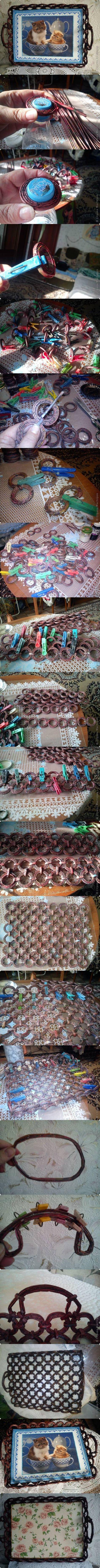 DIY Newspaper Weaving Tray