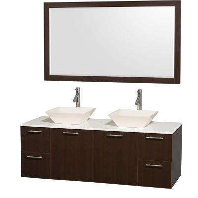 Amare 60 In Double Vanity In Espresso With Man Made Stone Vanity Top In Wh Double Vanity Bathroom Double Sink Bathroom Vanity Vanity Set With Mirror