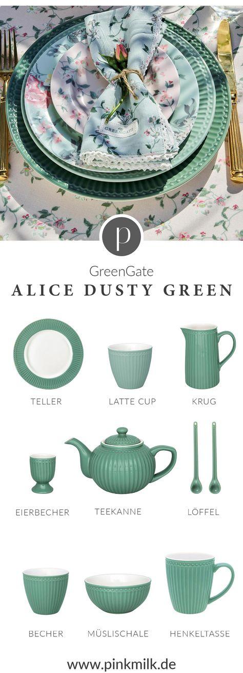 Greengate Creamer Alice green Milchkännchen kleines schwedenhaus Geschirr Kanne