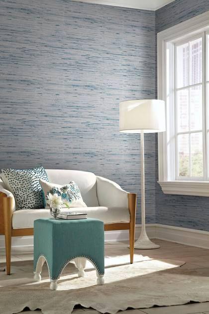 Lustrous Grasscloth Wallpaper Blue Gray Grasscloth Wallpaper Grasscloth Wall Coverings