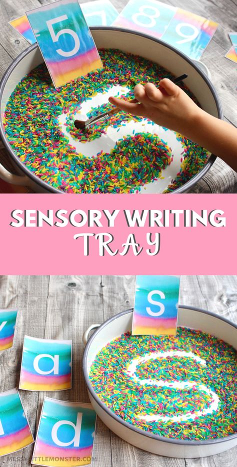 Rainbow rice sensory writing tray with alphabet cards and number cards. Fun handwriting practice activity for preschoolers. Writing Activities For Preschoolers, Handwriting Activities, Sensory Activities Toddlers, Preschool Writing, Numbers Preschool, Kindergarten Learning, Handwriting Practice, Montessori Activities, Alphabet Activities