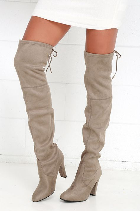 f18b60f4dfd You ll be absolutely stunning in the Steve Madden Gorgeous Taupe Suede Over  the Knee Boots
