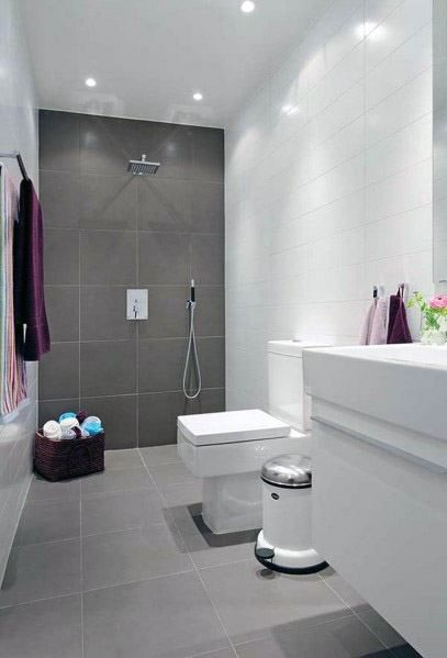 Top 60 Best Grey Bathroom Tile Ideas Neutral Interior Designs Small Bathroom Tiles Bathroom Design Small Simple Bathroom