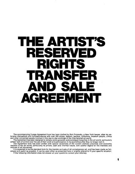 The ArtistS Reserved Rights Transfer And Sale Agreement
