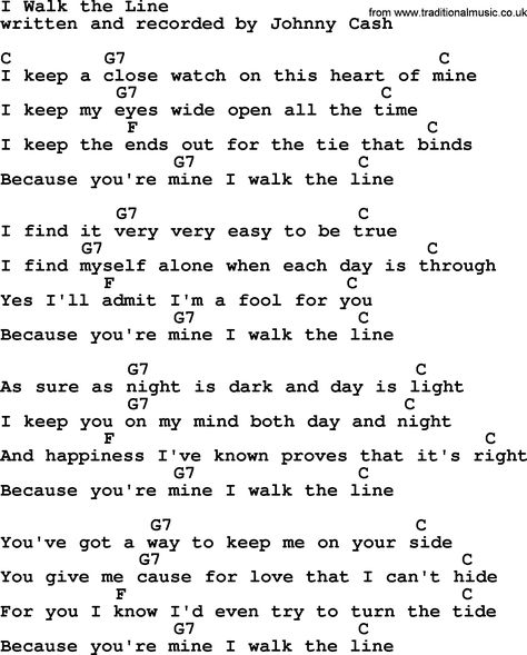Johnny Cash song I Walk The Line, lyrics and chords ...