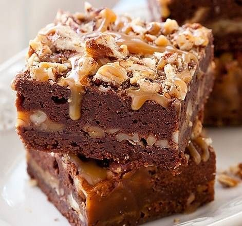 Turtle Brownies Recipe served at Ghiradelli Soda Fountain and Chocolate Shop in Downtown Disney at Disney World