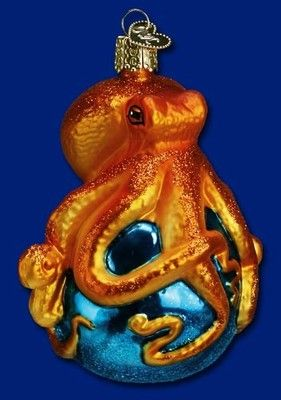 X Glass Ornament w// OWC Box Old World Christmas OCTOPUS 12129