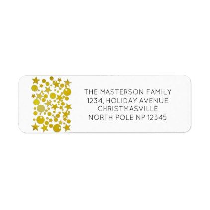 30 Custom Red Holiday Star Personalized Address Labels