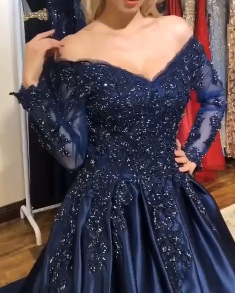 Ball Gown Off-the-Shoulder Long Sleeves Navy Blue Prom Dress