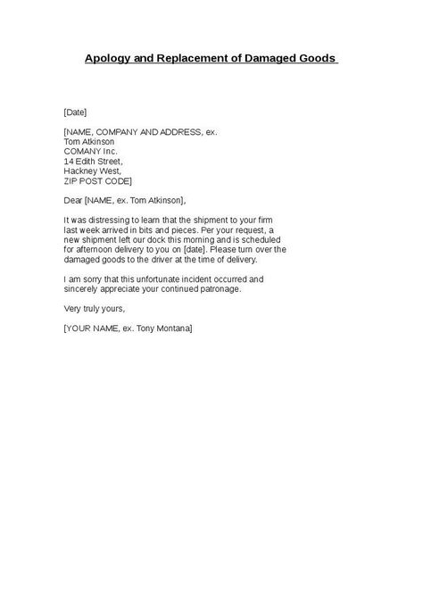 apology and replacement damaged goods hashdoc sample claim letter - complaint letter