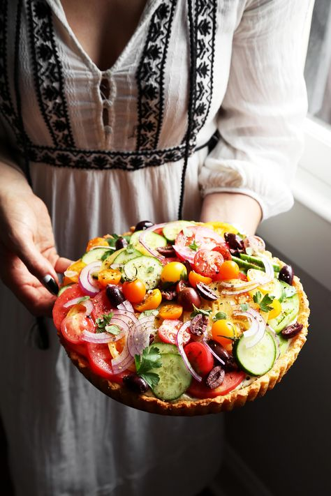 Joy the Bakes makes a fresh tomato and cucumber tart with whipped feta