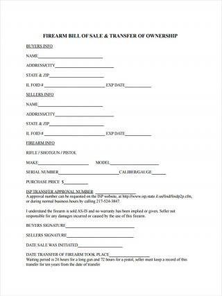 6 Firearm Bill Of Sale Form Sample Free Sample Example Format