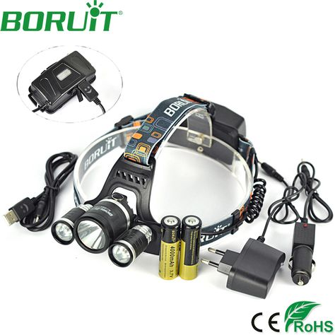 Boruit 10000lm Xm L L2 Led Headlight Rechargeable 4 Mode Headlamp Hunting Head Torch Lamp As Power Bank Light By 18650 Battery Aff Headlamp Flashlight Car Usb