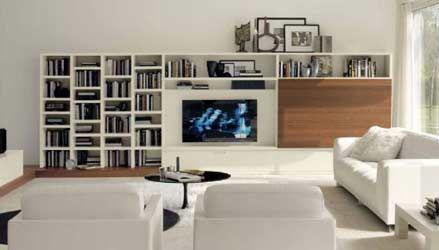 Soggiorno bicolore ~ Parete attrezzata in rovere 550 con contenitori e libreria ideale