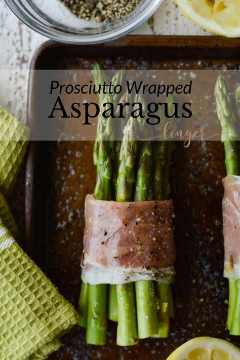 Beautiful prosciutto wrapped asparagus bundles are roasted to perfection and add a lovely touch to any dinner table. This recipe is an easy and make-ahead vegetable side dish. #asparagus #vegetables #appetizer #sidedish #veggies #vegetablesidedish #asparagusbundles