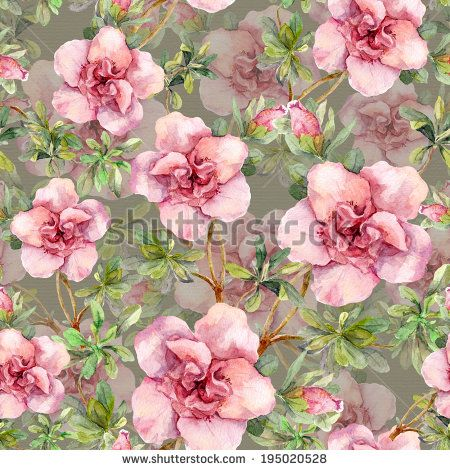 Pink Flowers Seamless Floral Wallpaper Watercolour Art On Gray Background Vintage Floral Wallpapers Floral Wallpaper Wallpaper