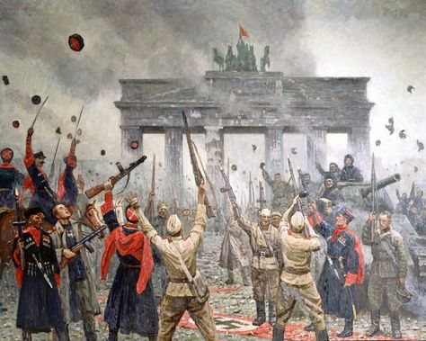 Soviet Red Army infantrymen and Cossack cavalrymen celebrating their victory over the Nazis in front of the Brandenburg Gate of a liberated Berlin, May 1945 (painting by Dmitri Shmarin).