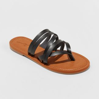target | Black strappy sandals, Leather