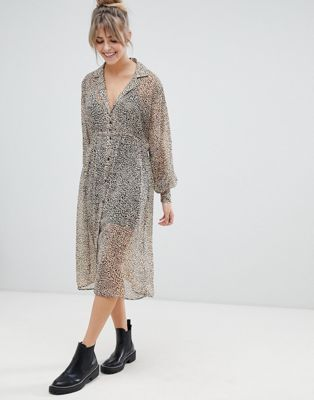 biggest discount brand new recognized brands Pull&Bear sheer shirt dress in leopard print in 2019 | Sheer ...