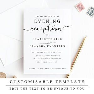 graphic about Wedding Stationery Printable referred to as Print At Dwelling Night Reception Marriage Invitation Template