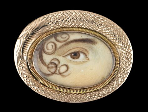 """Gold brooch with """"ouroboros"""" surround. Collection of Dr. and Mrs. David Skier #lookoflove #eyeminiatures #loverseye"""