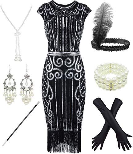 Beautiful Women S 1920s Sequins Flapper Gatsby Cocktail Dress With 20s Headband Accessories Set Fashion W Fashion Clothes Women 20s Dresses 1920s Fashion Women