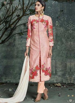 Pinky Cream Embroidery Work Silk Fancy Designer  Pakistani Suit http://www.angelnx.com/Salwar-Kameez
