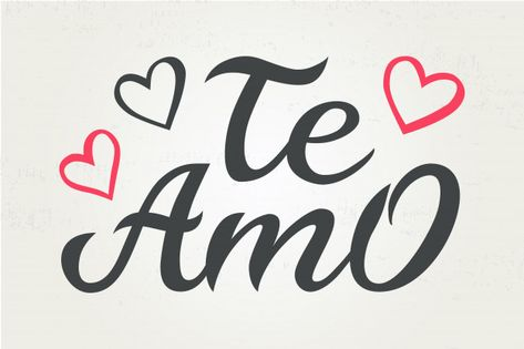 Tipografia desenhada à mão lettering te ... | Premium Vector #Freepik #vector #coracao #amor #mao #desenho-animado