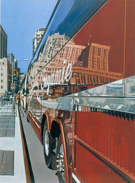 Richard Estes Tour Bus at the World Trade Center Oil on Canvas 2005