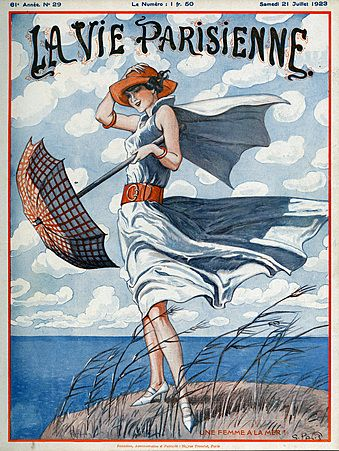 Inspiration for our weekly #papercrafting challenge, Magazine Mondays (La Vie Parisienne Magazine Cover Image Courtesy of The Advertising Archives: http://www.advertisingarchives.co.uk Vintage, illustrations, covers, artwork, Retro, French magazines, Art Deco, Art Nouveau, 1920s, Georges Pavis, weather, windy, parasols, womens fashion)