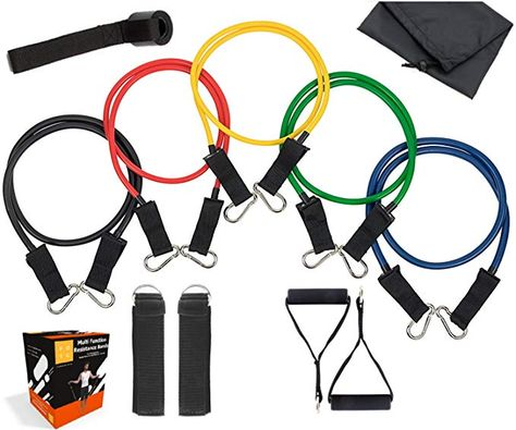 Fit On The Go Resistance Band Set - 11pc Latex Physical Therapy, Exercise, Fitness Training Bands 5 Color Coded Exercise Bands, Handles, Carrying Case, Door Anchor Ankle Strap Review