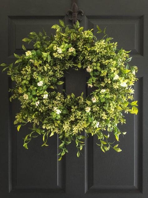 Boxwood Wreath with White Tea Leaf Flowers - Summer Wreath - Fall Wreath - Front Door Wreaths - Realistic Faux Boxwood Wreath - Wreaths