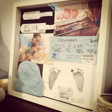 """Newborn shadow box - I still have all this """"stuff"""" - I should do something with it."""
