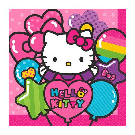 8 HELLO KITTY Rainbow LARGE PAPER PLATES ~ Birthday Party Supplies Luncheon