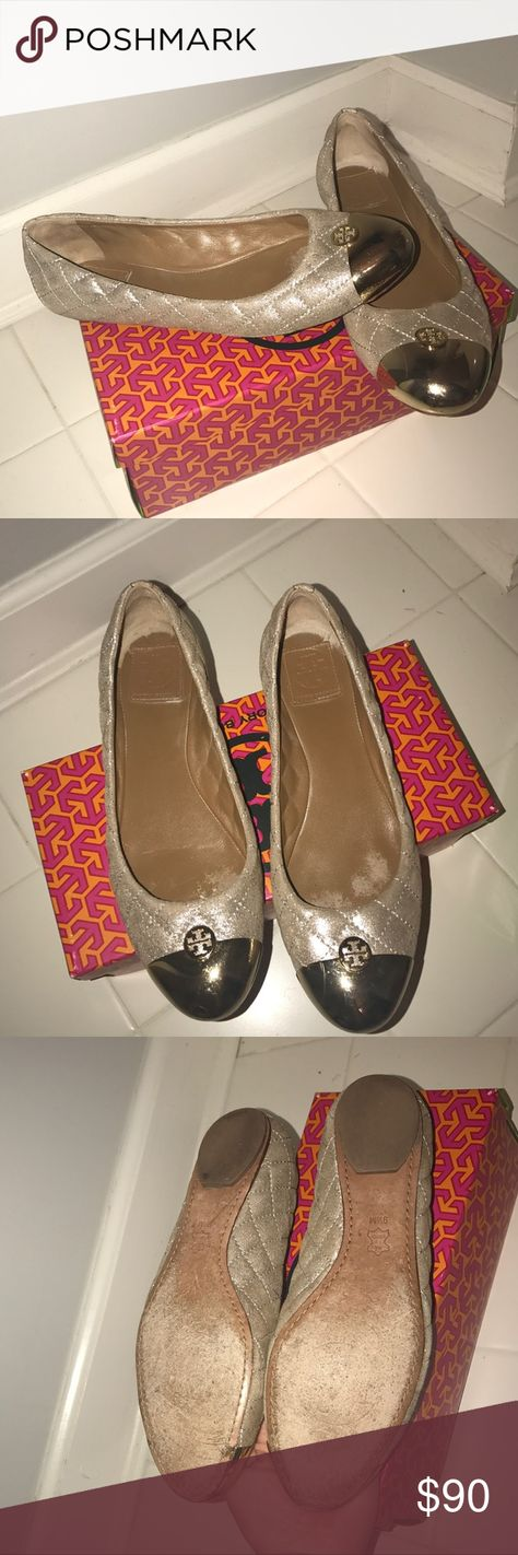 1b4d01469324e6 Gold quilted leather shimmer Tory Burch flats Shows lift signs or wear all  white areas that looks like wear inside the shoe is actually just baby  powder ...